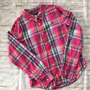 Ralph Lauren Girl's Pink Green Plaid Flannel Shirt